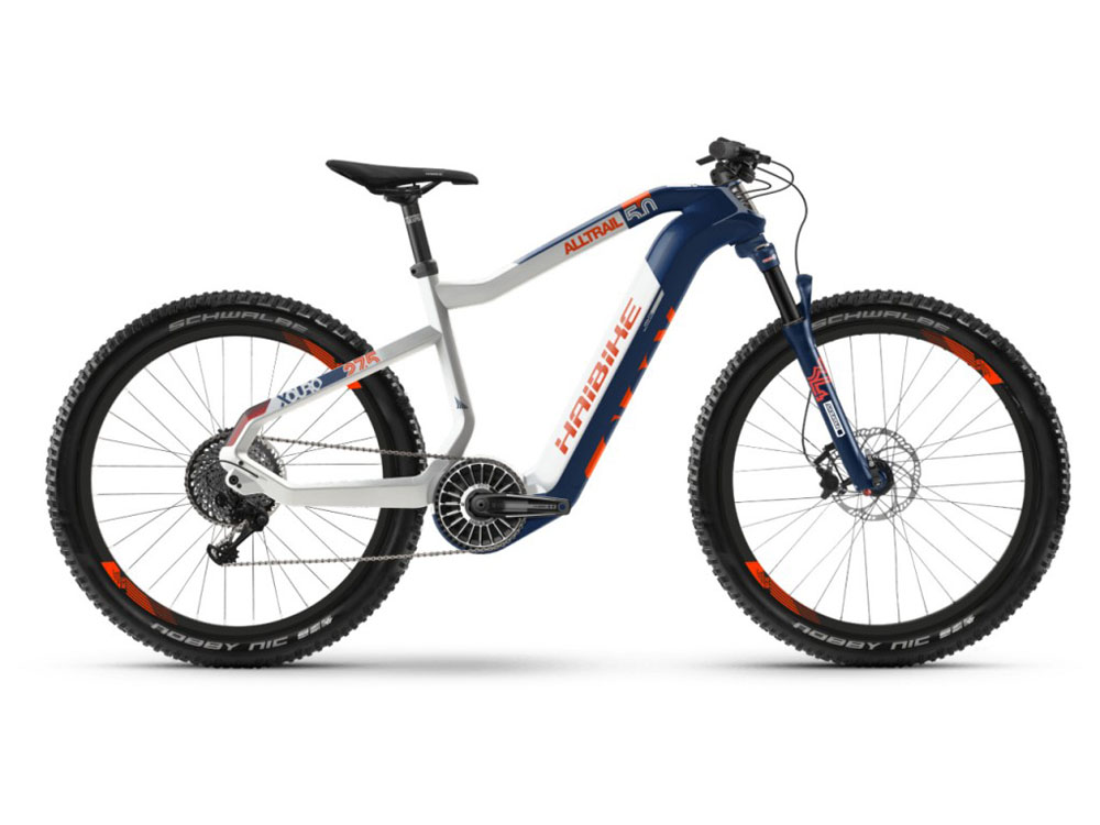Haibike XDURO AllTrail 5.0 i630Wh E-Bike blau weiss orange