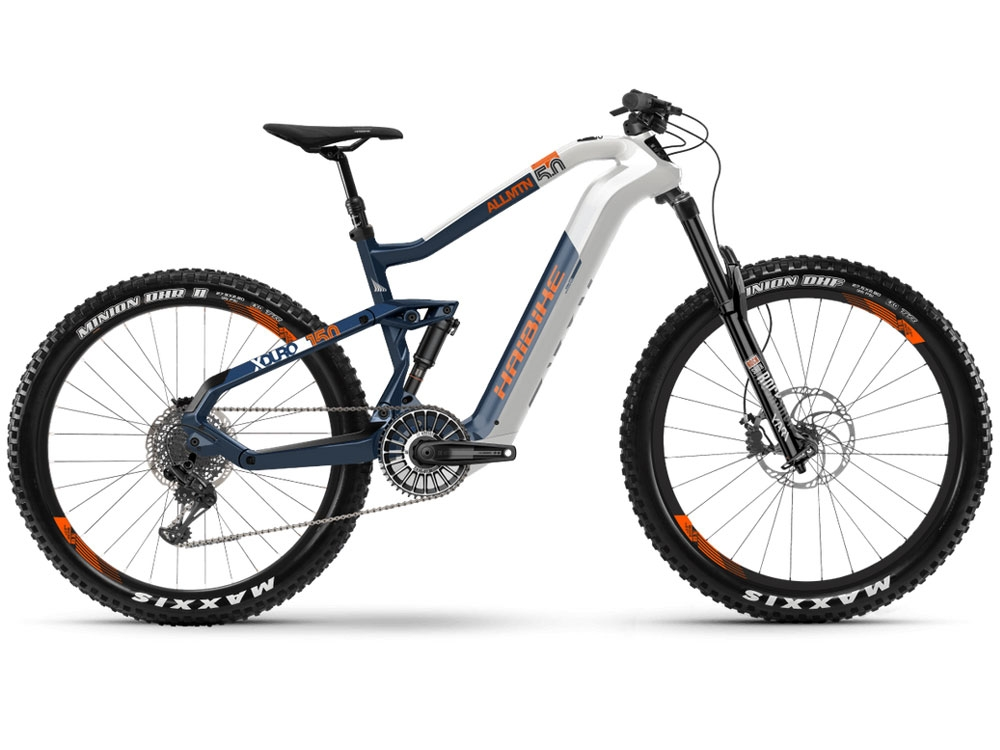Haibike XDURO AllMtn 5.0 i630Wh Fullsuspension E-Bike weiss blau orange